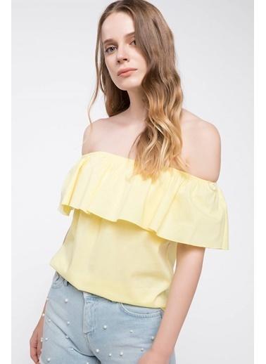 DeFacto Karmen Yaka Bluz Sarı
